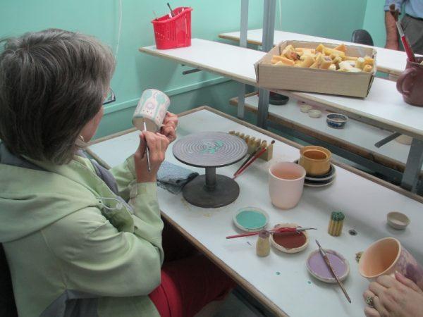 Polish Pottery painting workshop.