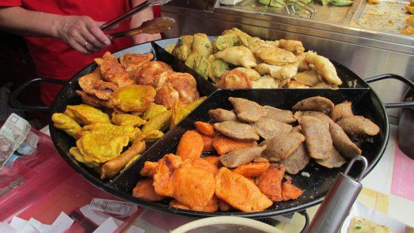 Variety of pierogi at the Pierogi Festival in Krakow, Poland