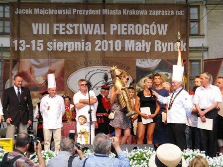 Award ceremony for best pierogi at the Pierogi Festival in Krakow, Poland