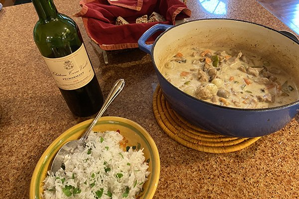 Perigord-inspired meal - blanquette de veau