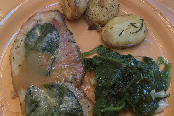 Tuscan meal inspired by Rita - saltimbocca