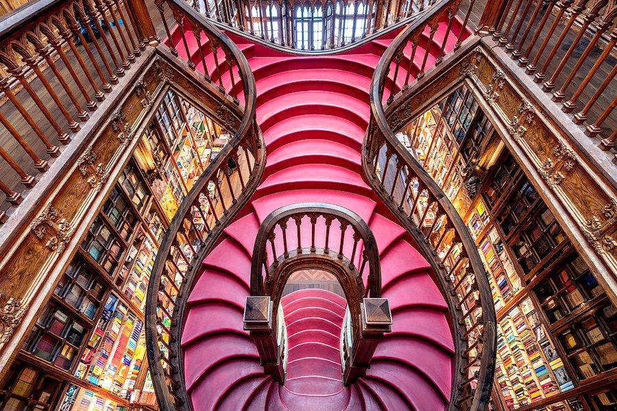 livraria lello stairwell, porto, portugal