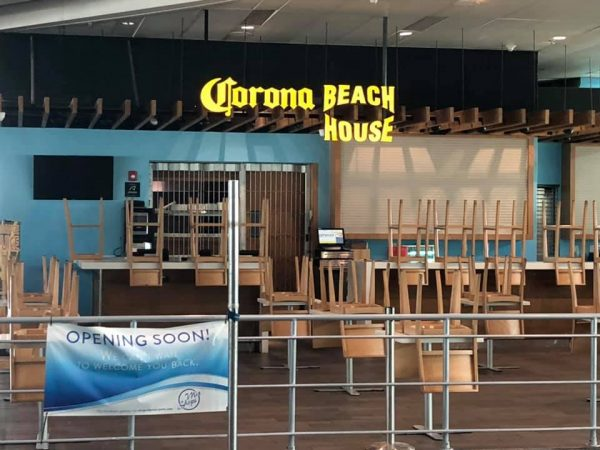 CORONA Beach House restaurant closed due to coronavirus.