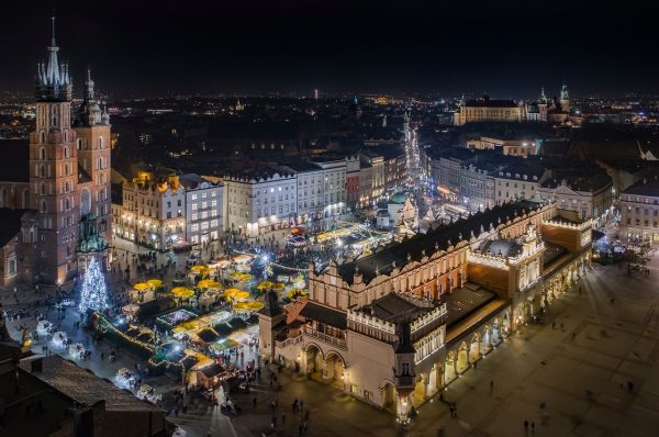 Krakow Christmas Market at night