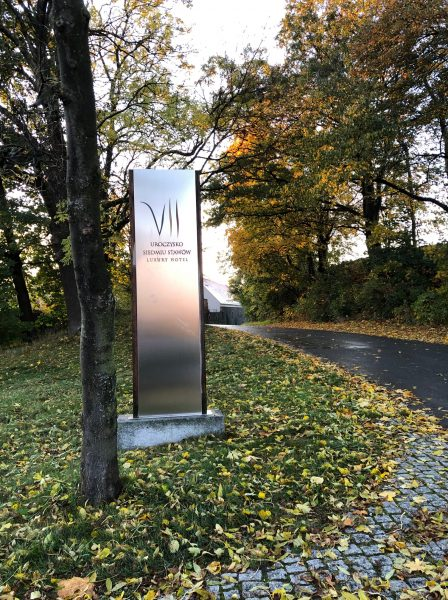 Welcome entrance sign to Uroczysko Siedmiu Stawow Hotel & Spa in Lower Silesia region of Poland