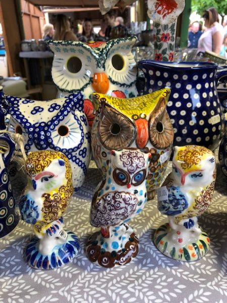 Variety of Polish Pottery owls on display at the festival