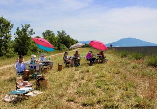 Paint Provence with Tess - group painting in lavender field
