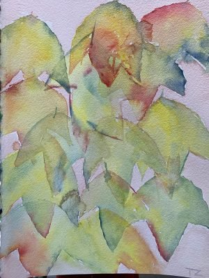 Paint Provence with Tess - painting of leaves