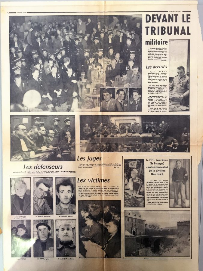 Newspaper clippings about Oradour trial