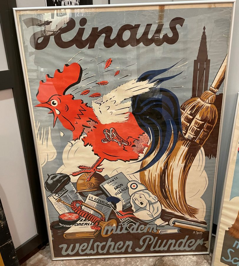 German poster of a rooster and cleaning house